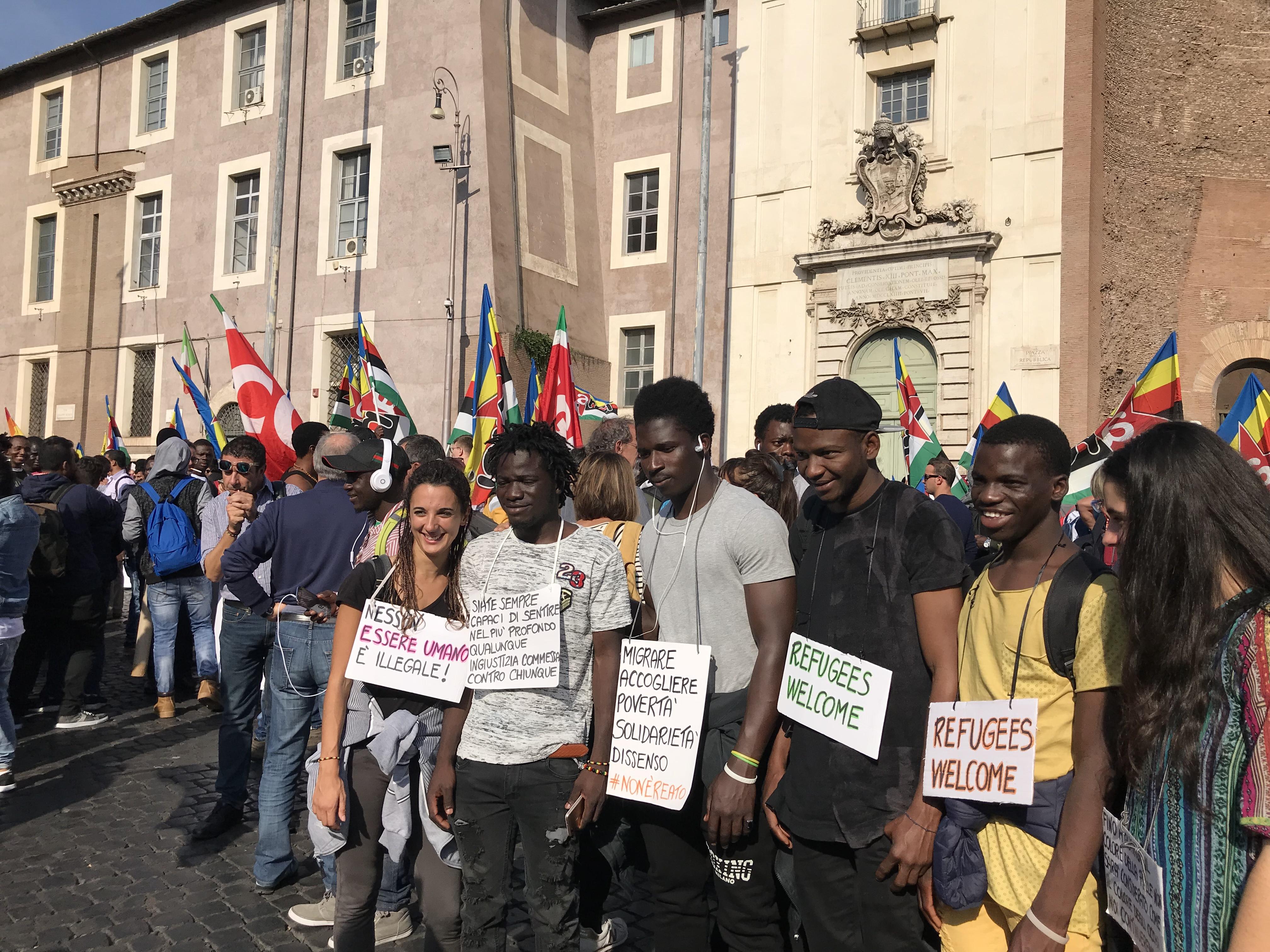 Manifestazione no al razzismo, immigrati