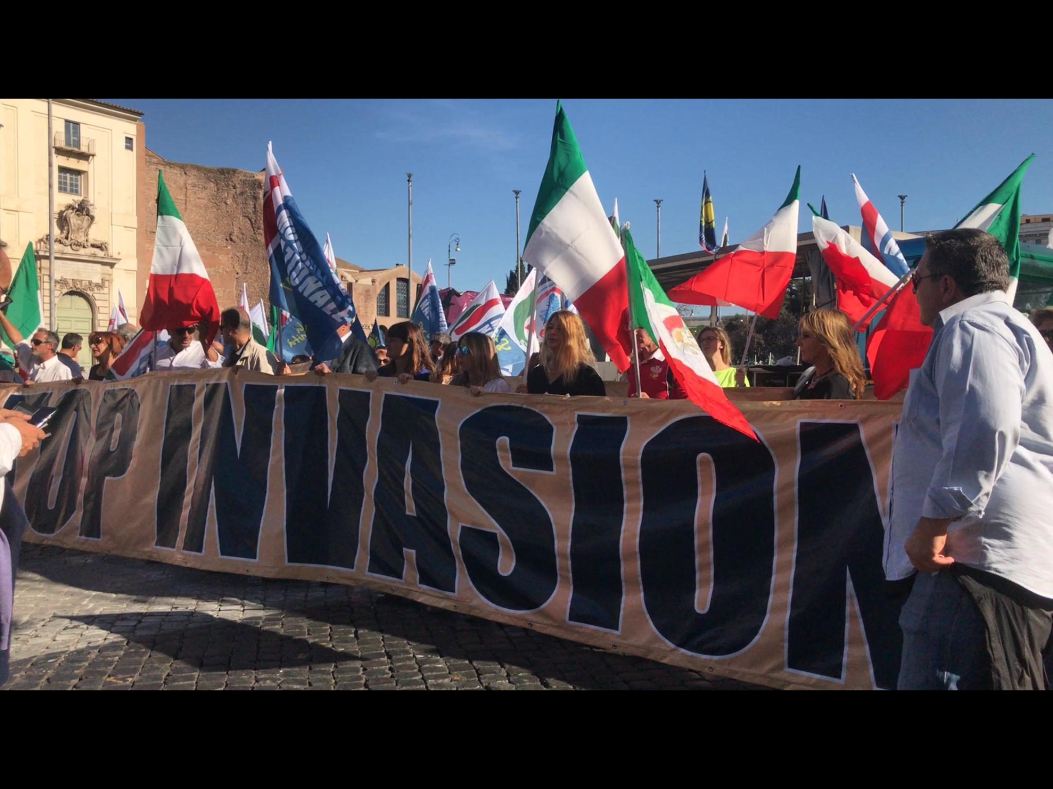 Manifestazione anti ius soli a Roma