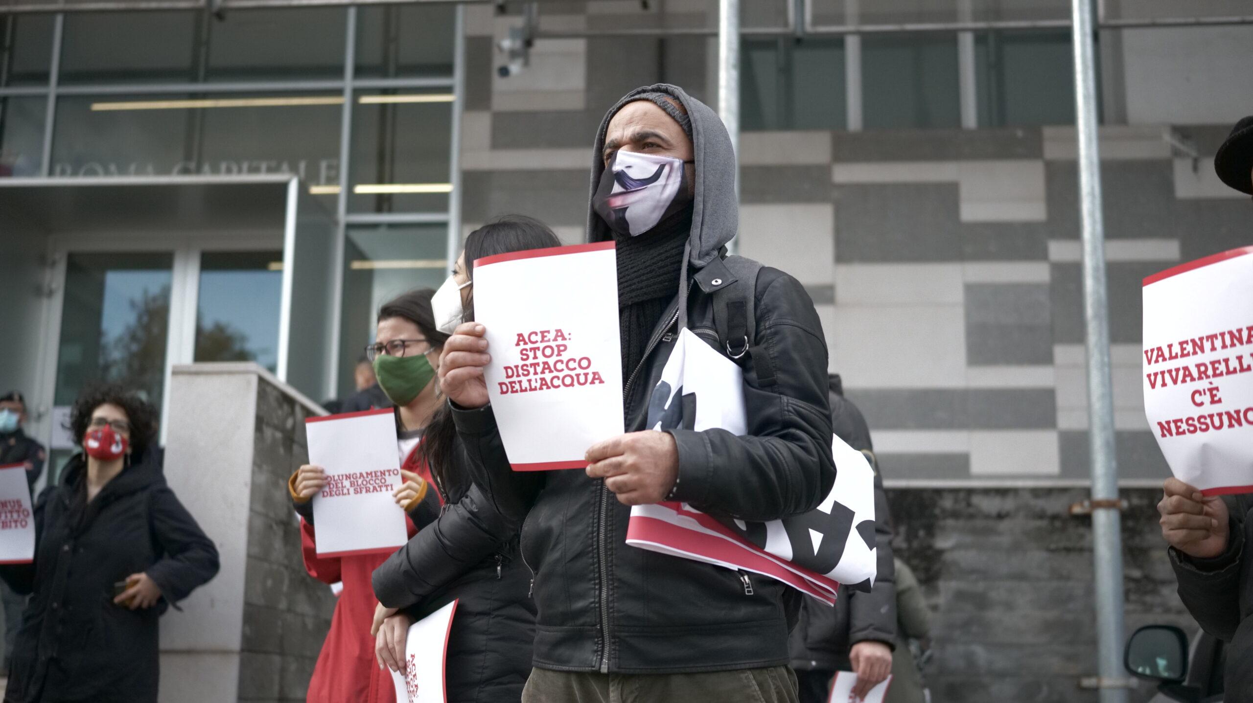 La manifestazione contro gli sfratti